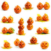 Set of orange halloween pumpkins Jack O Lanterns — Stock Photo