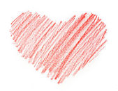 Red heart painted in watercolor on white background — Stock Photo