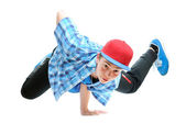 Hip-hop style dancer performing against a white background — Stock Photo