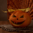 Scary halloween pumpkin jack-o-lantern — Stock Photo