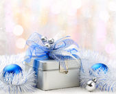 Christmas gift box on abstract background — Stock Photo