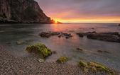Gueirua beach at sunset. Asturias, Spain. — Foto Stock
