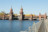 Oberbaum bridge with train — Stock Photo