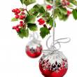 Red Christmas balls hawthorn — Stock Photo