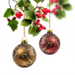 Red and golden Christmas ball hawthorn — Stock Photo
