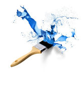 Paintbrush splashing dripping blue — Stock Photo