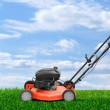 Lawn mower clipping green grass - Stock Photo