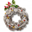 Christmas door wreath with hawthorn - Stock Photo