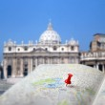 Travel destination Rome map push pin blur — Stock Photo