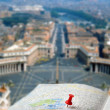 Travel destination Rome map push pin blur — Stock Photo