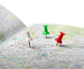 Travel destination map push pins — Stock Photo