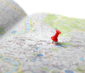 Travel destination map push pin — Stock Photo