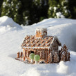 Gingerbread house in real snow — Stock Photo