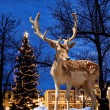 Christmas deer in small town - Stock Photo