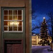 Christmas in snowy little town — Stock Photo