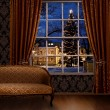 Stock Photo: Christmas town view window