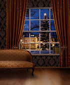 Christmas town view window — Stock Photo
