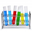 Stock Photo: Labotatory test tube rack with liquid samples