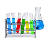 Labotatory equipment with liquid samples — Stock Photo