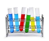 Labotatory test tube rack with liquid samples — Stock Photo