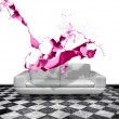Pink paint splash white leather sofa — Stock Photo