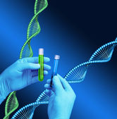Test tubes laboratory DNA helix model — Stock Photo