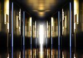 Modern perspective corridor illuminated — Stock Photo