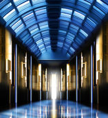 Modern perspective glass roof corridor — Stock Photo