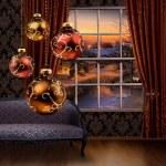 Christmas balls hanging, winter street view window — Stock Photo