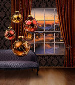 Christmas balls hanging, winter street view window — Stock Photo