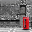 Red telephone booth canvas background — Stock Photo
