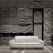 White leather sofa canvas background — Foto Stock