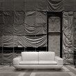 White leather sofa canvas background — Stock fotografie