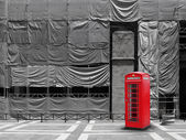 Red telephone booth canvas background — Stok fotoğraf