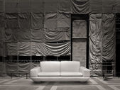 White leather sofa canvas background — Stock Photo
