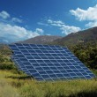 Solar energy panel collectors countryside — Stock Photo