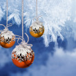 Christmas balls frosty background — Stock Photo