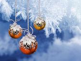 Christmas balls frosty background — Foto de Stock