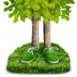 Green carbon footprint concept — Photo