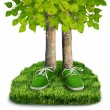 Green carbon footprint concept — Stock Photo