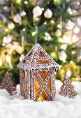 Christmas gingerbread lantern — Stock Photo