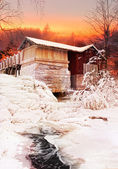 Old water mill Christmas eve — Stock Photo