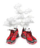 Exhausted sport running shoes — Stock Photo