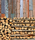 Stacked firewood colorful batten wall — Stock Photo