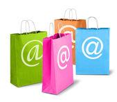 Sacs à provisions coloré commerce net — Photo