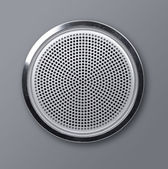 Realistic round metal loudspeaker — Stock Photo