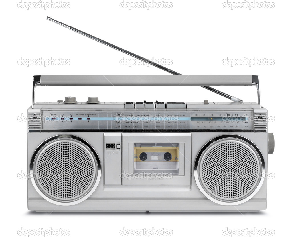 80er jahre vintage radio kassettenrecorder stockfoto. Black Bedroom Furniture Sets. Home Design Ideas