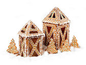 Gingerbread cookies lantern cottages — Stock Photo
