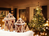 Gingerbread cookies cottages Christmas tree room — Stock Photo