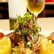 Stock Photo: Crayfish and white wine